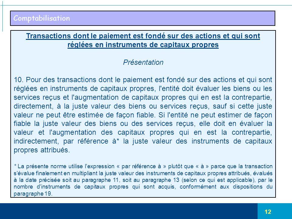 12 Comptabilisation Transactions dont le paiement est fondé sur des actions et qui sont réglées en instruments de capitaux propres Présentation 10. Po