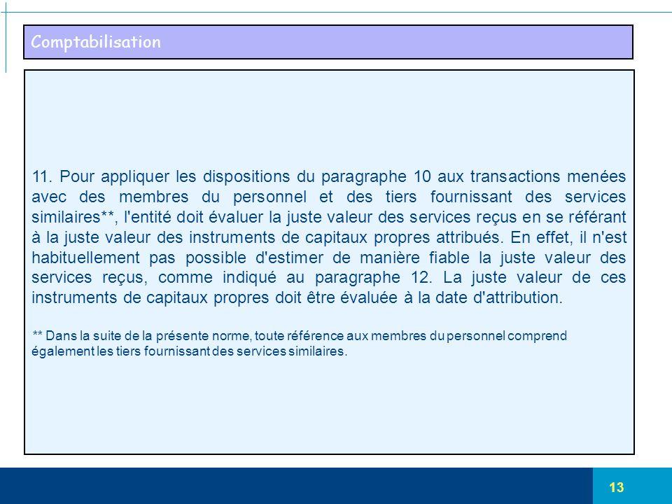 13 Comptabilisation 11. Pour appliquer les dispositions du paragraphe 10 aux transactions menées avec des membres du personnel et des tiers fournissan
