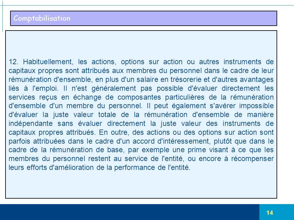 14 Comptabilisation 12. Habituellement, les actions, options sur action ou autres instruments de capitaux propres sont attribués aux membres du person