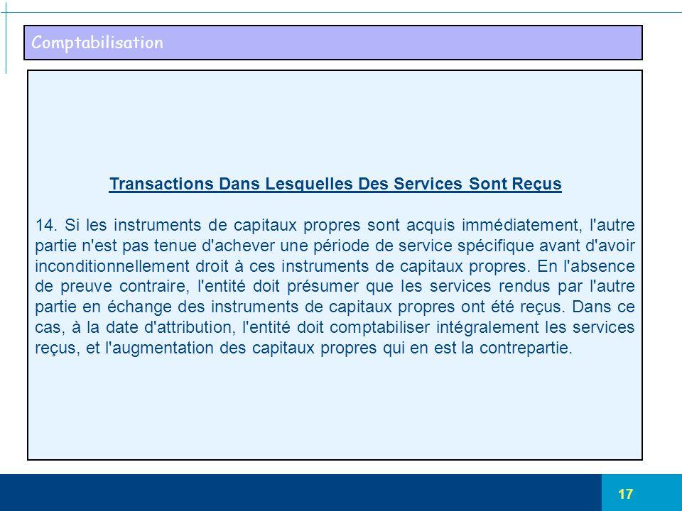 17 Comptabilisation Transactions Dans Lesquelles Des Services Sont Reçus 14. Si les instruments de capitaux propres sont acquis immédiatement, l'autre