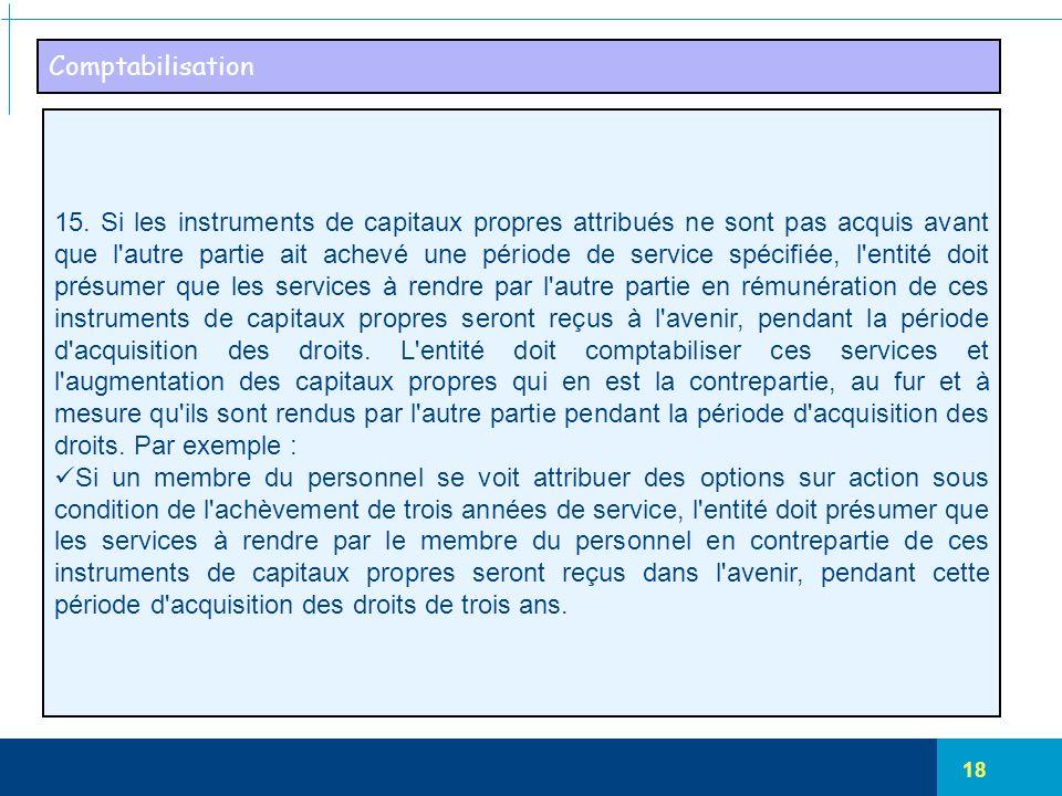 18 Comptabilisation 15. Si les instruments de capitaux propres attribués ne sont pas acquis avant que l'autre partie ait achevé une période de service