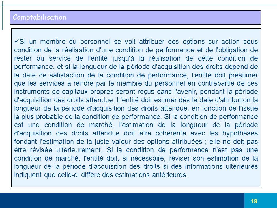 19 Comptabilisation Si un membre du personnel se voit attribuer des options sur action sous condition de la réalisation d'une condition de performance
