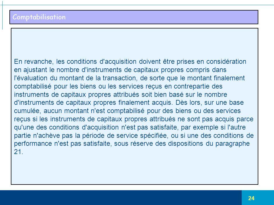 24 Comptabilisation En revanche, les conditions d'acquisition doivent être prises en considération en ajustant le nombre d'instruments de capitaux pro