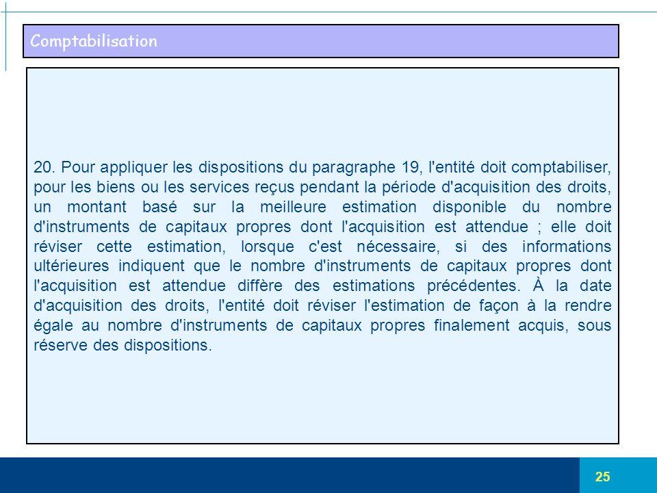25 Comptabilisation 20. Pour appliquer les dispositions du paragraphe 19, l'entité doit comptabiliser, pour les biens ou les services reçus pendant la