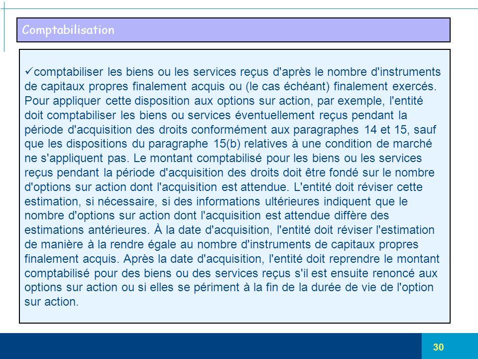 30 Comptabilisation comptabiliser les biens ou les services reçus d'après le nombre d'instruments de capitaux propres finalement acquis ou (le cas éch