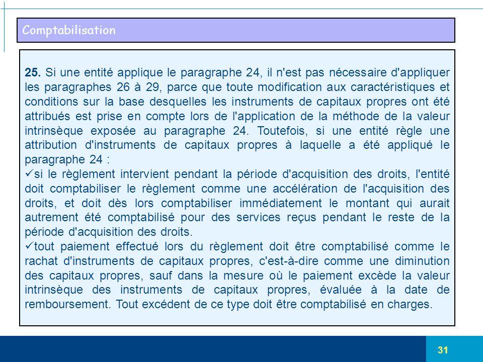 31 Comptabilisation 25. Si une entité applique le paragraphe 24, il n'est pas nécessaire d'appliquer les paragraphes 26 à 29, parce que toute modifica