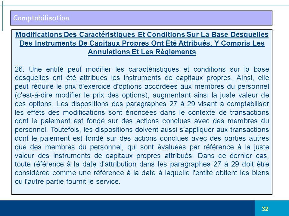 32 Comptabilisation Modifications Des Caractéristiques Et Conditions Sur La Base Desquelles Des Instruments De Capitaux Propres Ont Été Attribués, Y C
