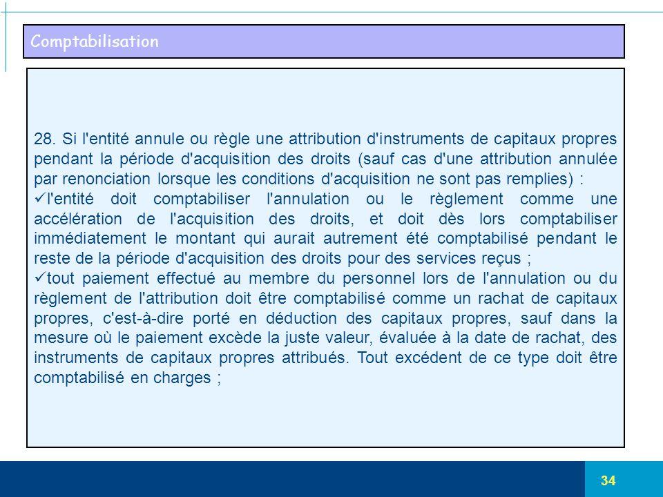 34 Comptabilisation 28. Si l'entité annule ou règle une attribution d'instruments de capitaux propres pendant la période d'acquisition des droits (sau