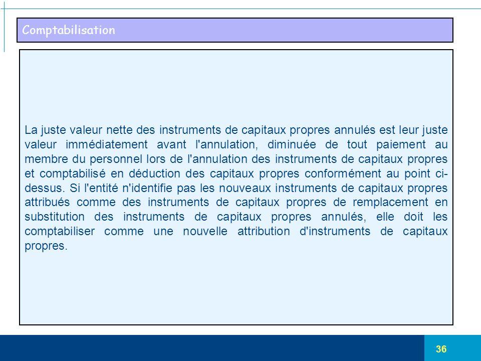 36 Comptabilisation La juste valeur nette des instruments de capitaux propres annulés est leur juste valeur immédiatement avant l'annulation, diminuée