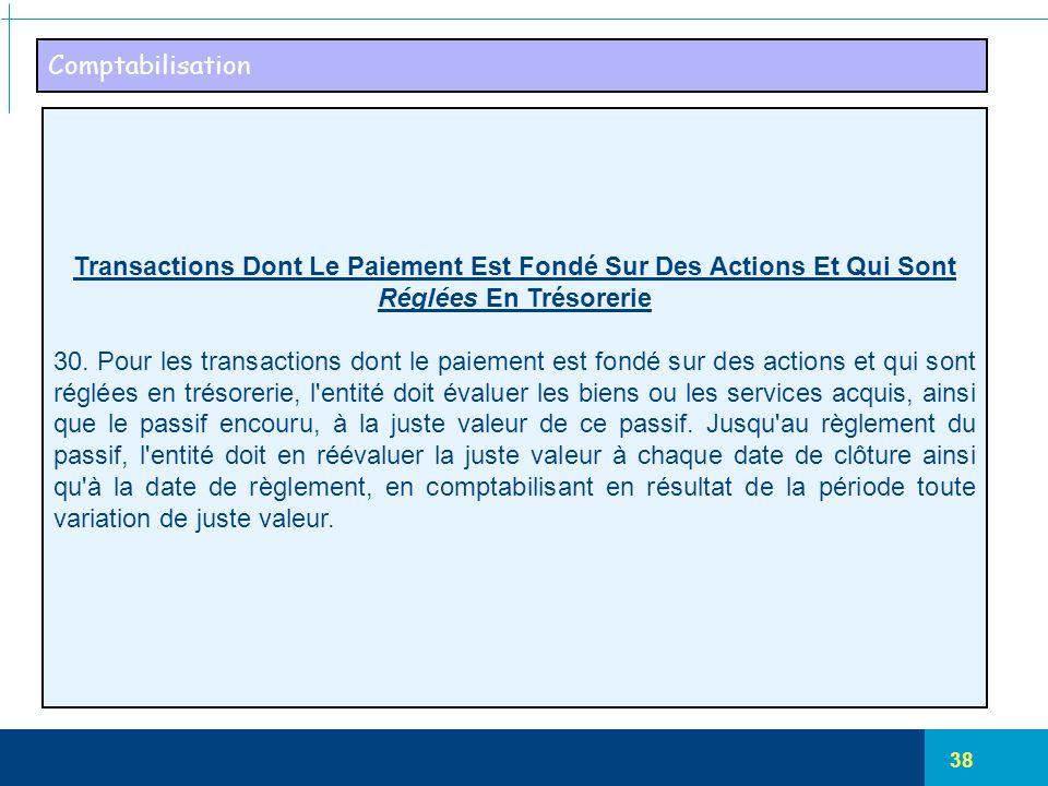 38 Comptabilisation Transactions Dont Le Paiement Est Fondé Sur Des Actions Et Qui Sont Réglées En Trésorerie 30. Pour les transactions dont le paieme