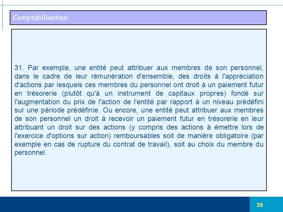 39 Comptabilisation 31. Par exemple, une entité peut attribuer aux membres de son personnel, dans le cadre de leur rémunération d'ensemble, des droits