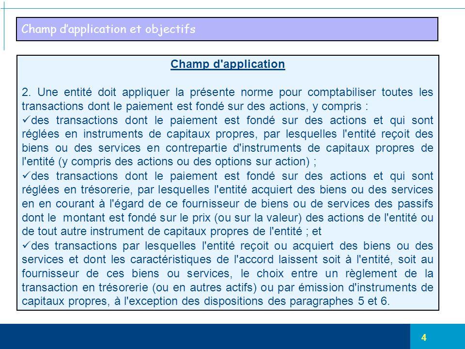 4 Champ d'application et objectifs Champ d'application 2. Une entité doit appliquer la présente norme pour comptabiliser toutes les transactions dont