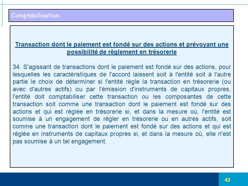 42 Comptabilisation Transaction dont le paiement est fondé sur des actions et prévoyant une possibilité de règlement en trésorerie 34. S'agissant de t