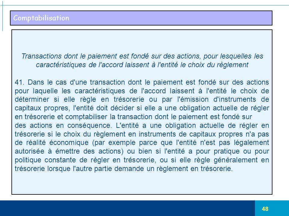 48 Comptabilisation Transactions dont le paiement est fondé sur des actions, pour lesquelles les caractéristiques de l'accord laissent à l'entité le c