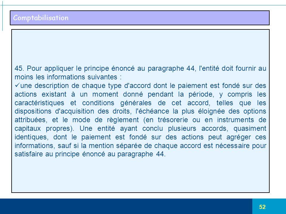 52 Comptabilisation 45. Pour appliquer le principe énoncé au paragraphe 44, l'entité doit fournir au moins les informations suivantes : une descriptio