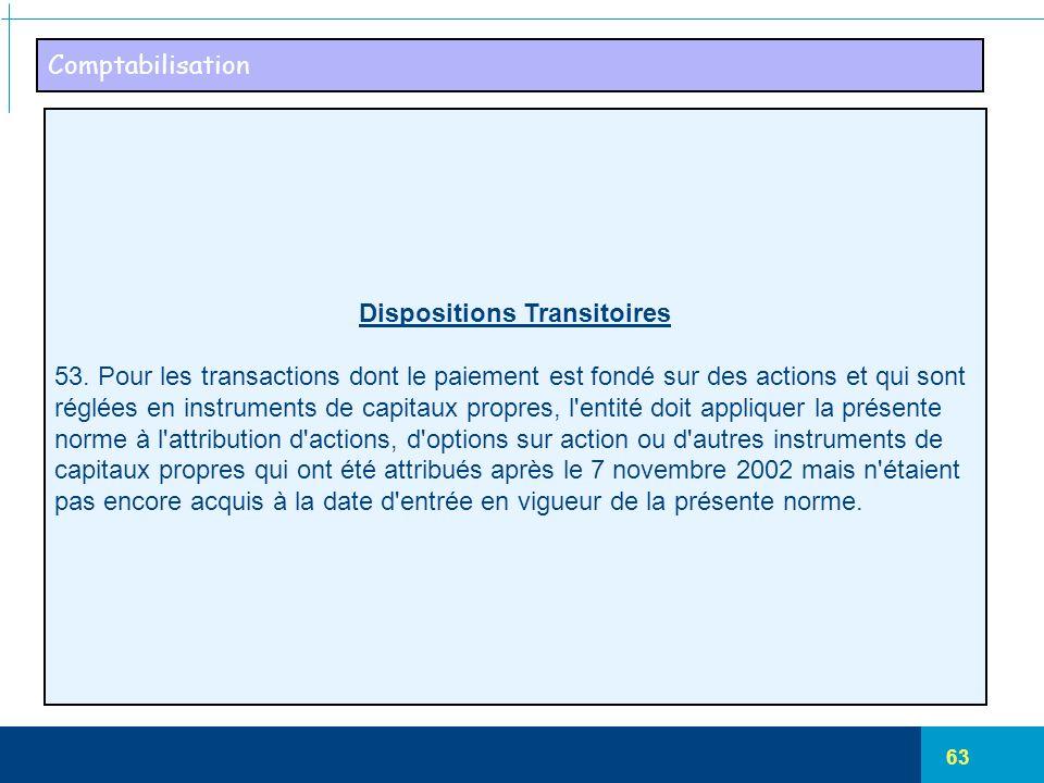 63 Comptabilisation Dispositions Transitoires 53. Pour les transactions dont le paiement est fondé sur des actions et qui sont réglées en instruments
