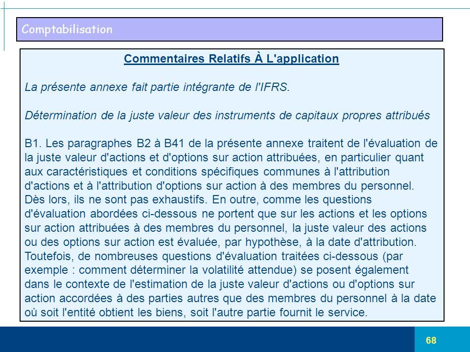 68 Comptabilisation Commentaires Relatifs À L'application La présente annexe fait partie intégrante de l'IFRS. Détermination de la juste valeur des in