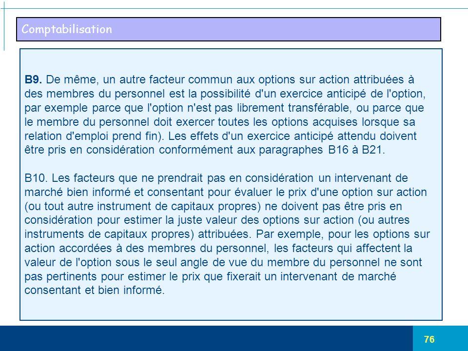 76 Comptabilisation B9. De même, un autre facteur commun aux options sur action attribuées à des membres du personnel est la possibilité d'un exercice