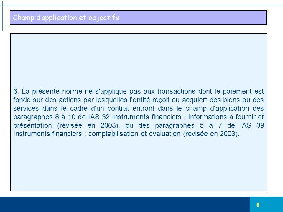8 Champ d'application et objectifs 6. La présente norme ne s'applique pas aux transactions dont le paiement est fondé sur des actions par lesquelles l