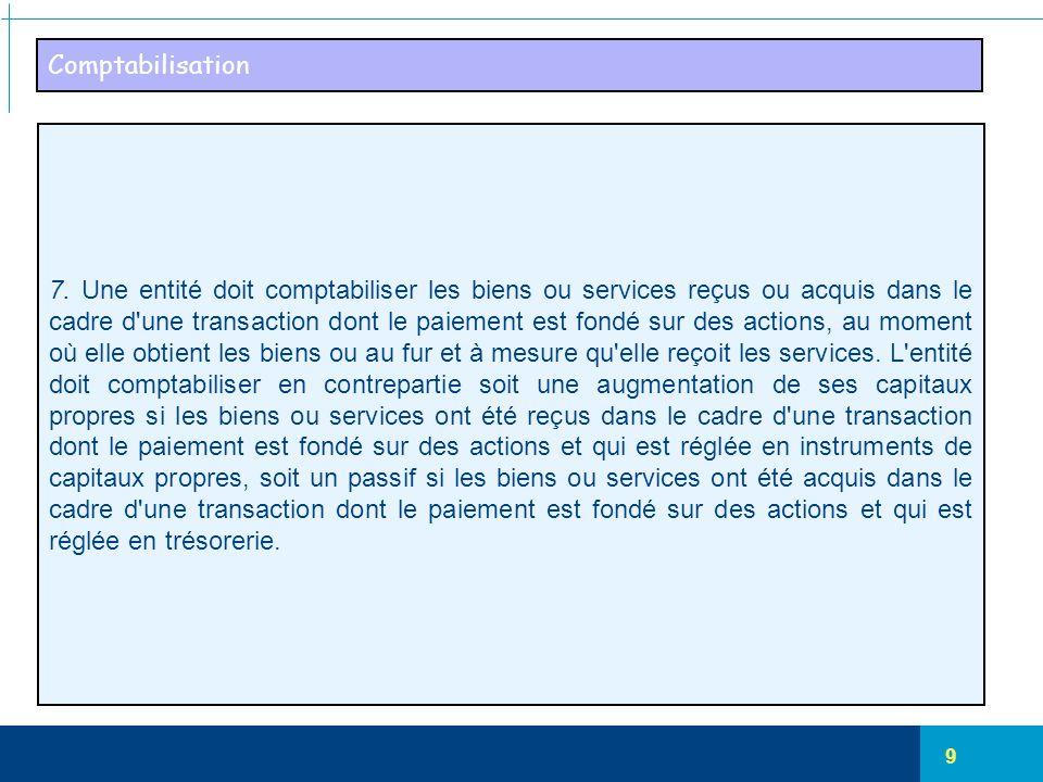 9 Comptabilisation 7. Une entité doit comptabiliser les biens ou services reçus ou acquis dans le cadre d'une transaction dont le paiement est fondé s
