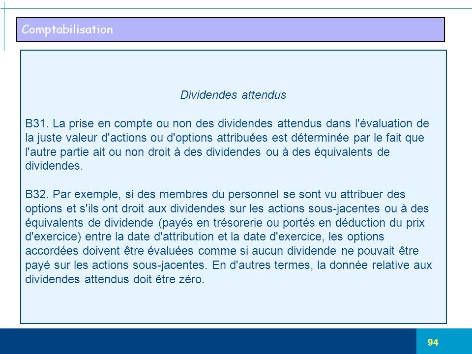 94 Comptabilisation Dividendes attendus B31. La prise en compte ou non des dividendes attendus dans l'évaluation de la juste valeur d'actions ou d'opt