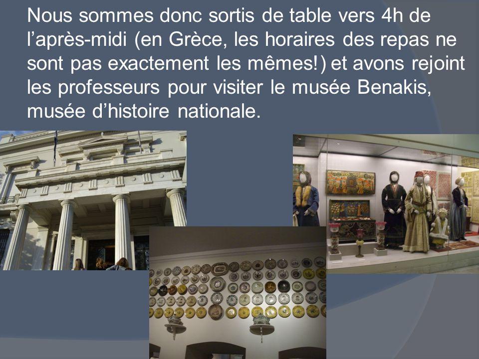 Nous sommes donc sortis de table vers 4h de l'après-midi (en Grèce, les horaires des repas ne sont pas exactement les mêmes!) et avons rejoint les professeurs pour visiter le musée Benakis, musée d'histoire nationale.