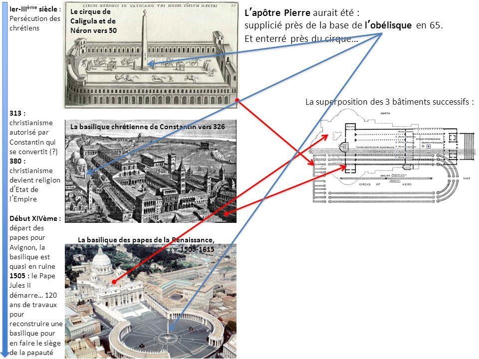 Le cirque de Caligula et de Néron vers 50 La basilique chrétienne de Constantin vers 326 La basilique des papes de la Renaissance, 1505-1615 L'apôtre Pierre aurait été : supplicié près de la base de l'obélisque en 65.