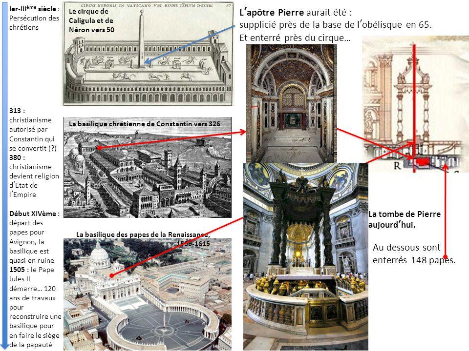 Le cirque de Caligula et de Néron vers 50 La basilique chrétienne de Constantin vers 326 La basilique des papes de la Renaissance, 1505-1615 L'apôtre