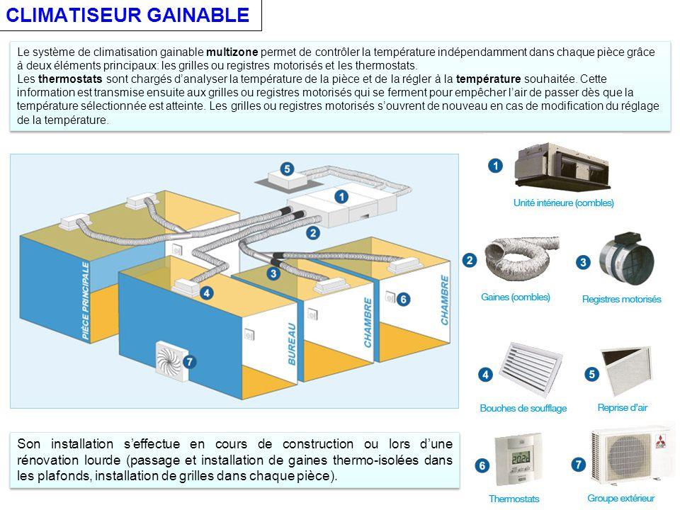 CLIMATISEUR GAINABLE Le système de climatisation gainable multizone permet de contrôler la température indépendamment dans chaque pièce grâce à deux éléments principaux: les grilles ou registres motorisés et les thermostats.