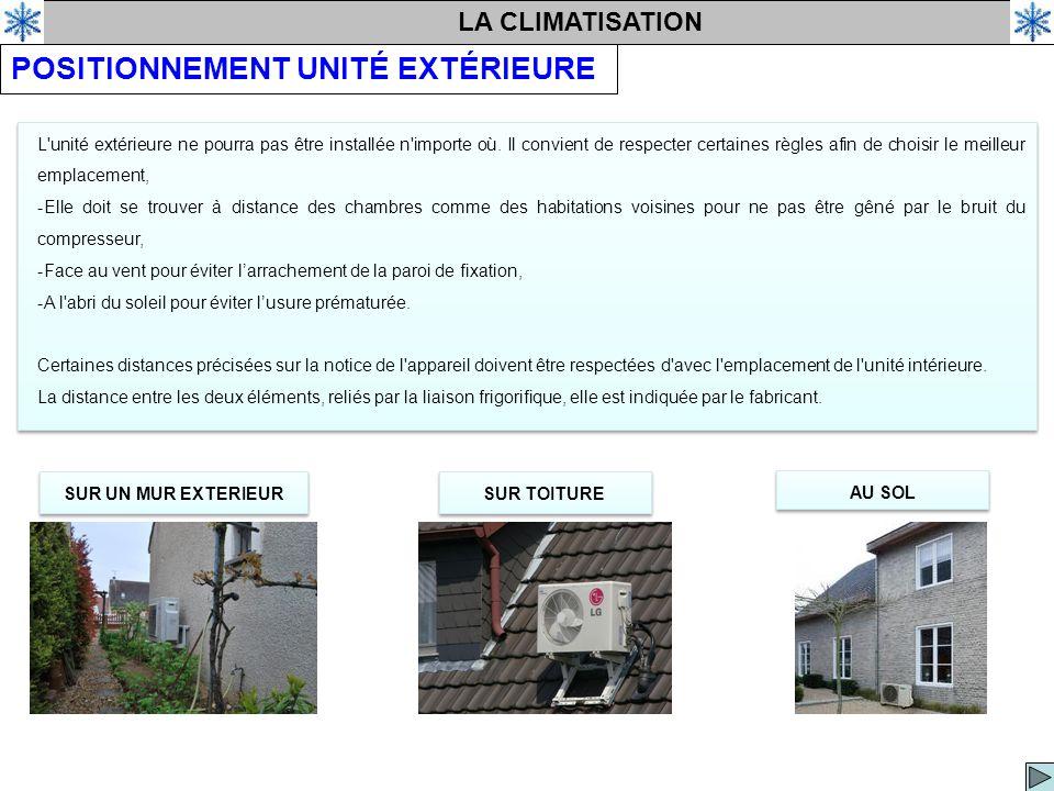 LA CLIMATISATION POSITIONNEMENT UNITÉ EXTÉRIEURE L unité extérieure ne pourra pas être installée n importe où.