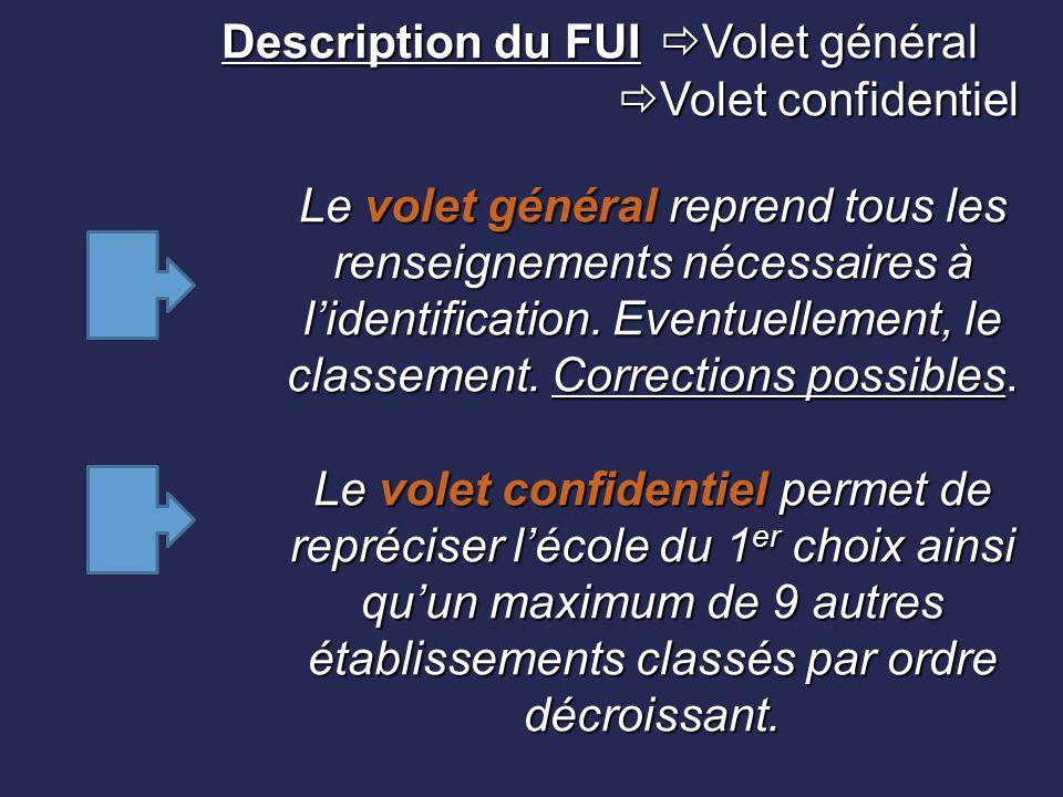 Description du FUI  Volet général  Volet confidentiel Le volet général reprend tous les renseignements nécessaires à l'identification. Eventuellemen
