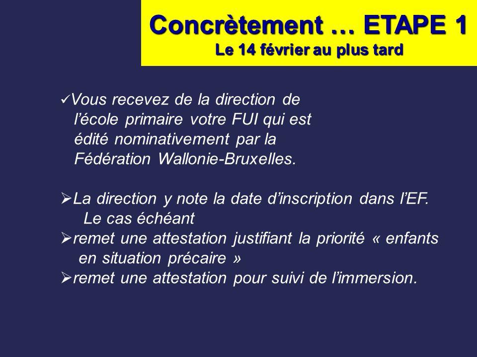 Concrètement … ETAPE 1 Le 14 février au plus tard Vous recevez de la direction de l'école primaire votre FUI qui est édité nominativement par la Fédér