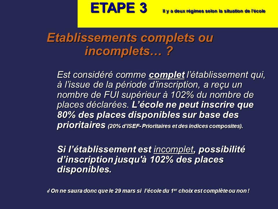 ETAPE 3 Il y a deux régimes selon la situation de l'école Etablissements complets ou incomplets… ? Est considéré comme complet l'établissement qui, à