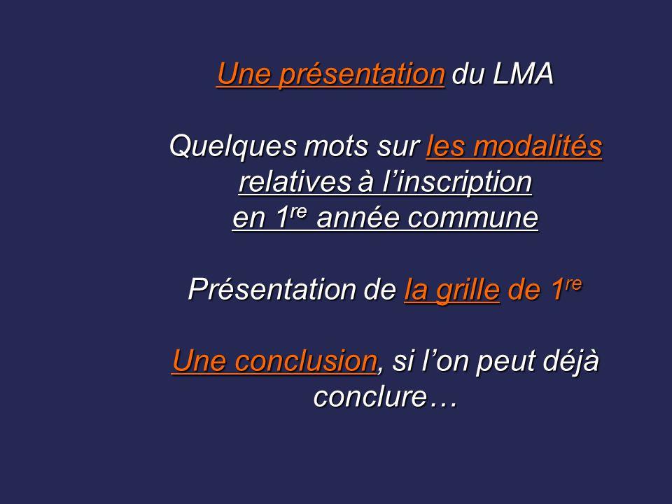 Une présentation du LMA Quelques mots sur les modalités relatives à l'inscription en 1 re année commune Présentation de la grille de 1 re Une conclusi