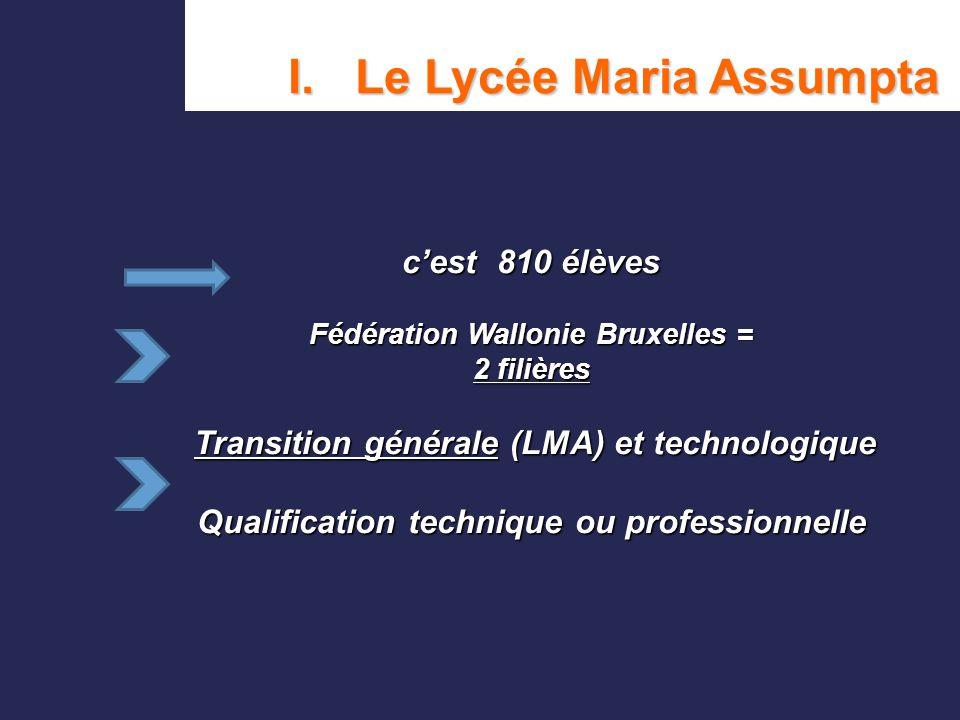 c'est 810 élèves Fédération Wallonie Bruxelles = 2 filières Transition générale (LMA) et technologique Qualification technique ou professionnelle I. L