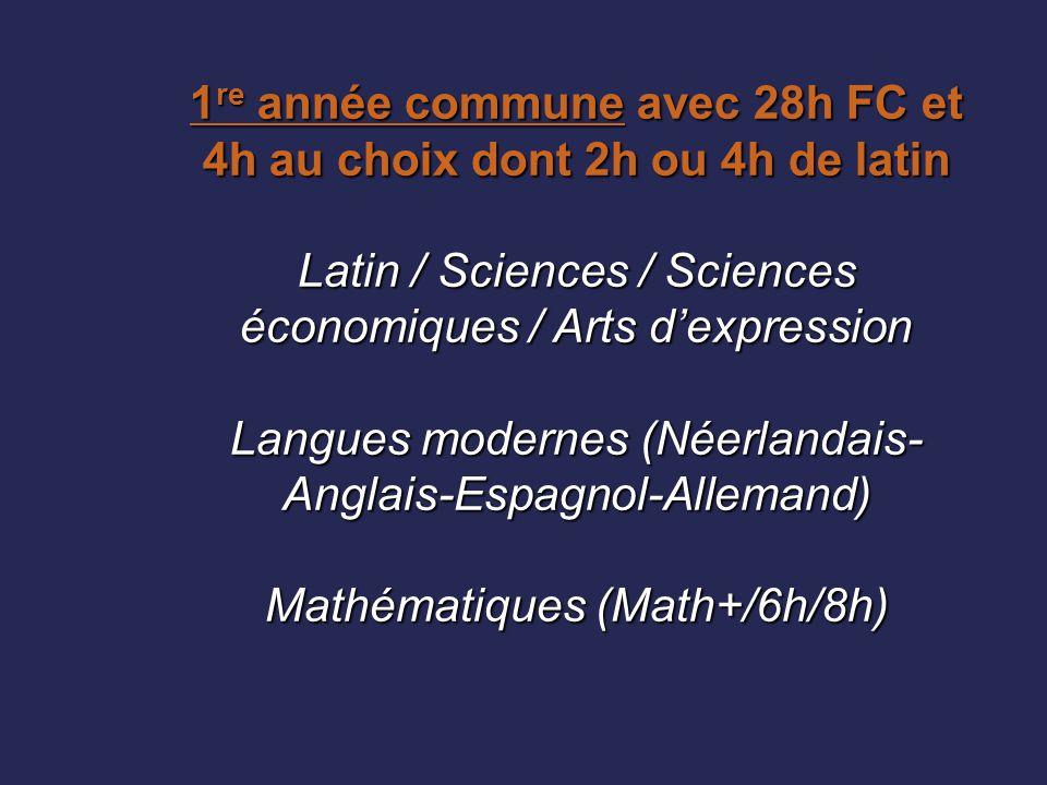 1 re année commune avec 28h FC et 4h au choix dont 2h ou 4h de latin Latin / Sciences / Sciences économiques / Arts d'expression Langues modernes (Née
