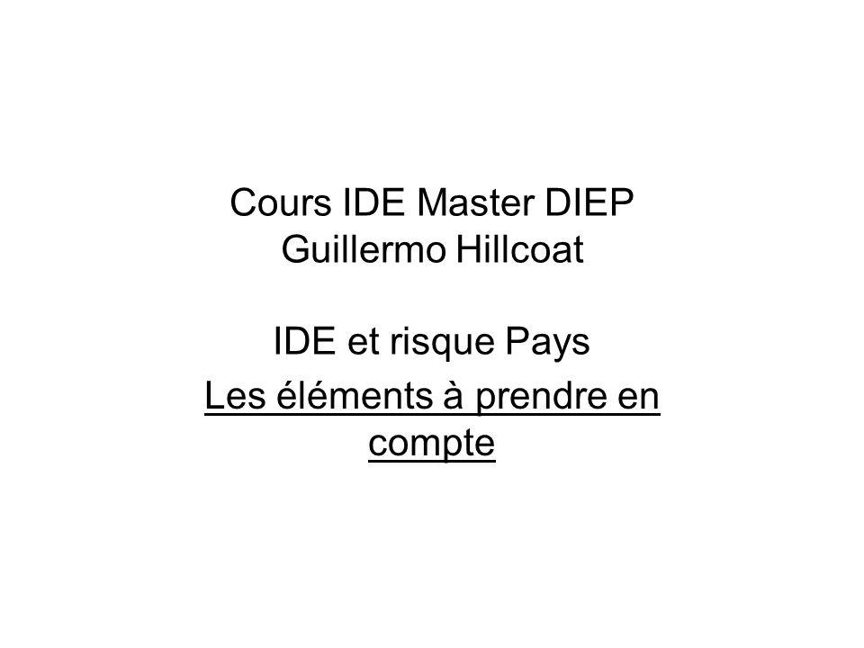 Cours IDE Master DIEP Guillermo Hillcoat IDE et risque Pays Les éléments à prendre en compte