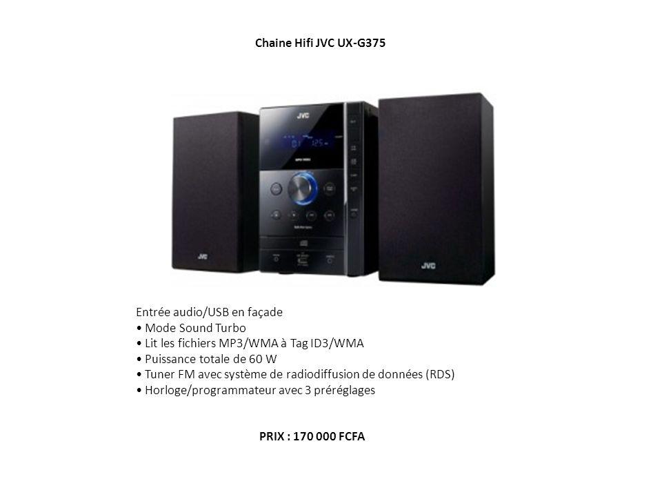 Chaine Hifi JVC UX-G375 Entrée audio/USB en façade Mode Sound Turbo Lit les fichiers MP3/WMA à Tag ID3/WMA Puissance totale de 60 W Tuner FM avec syst