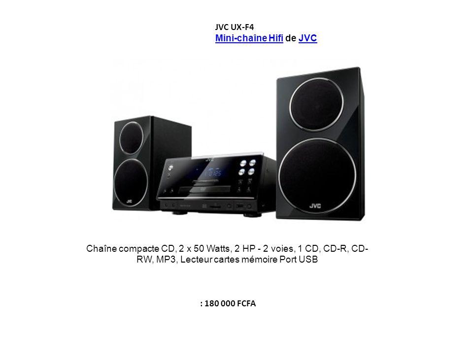 JVC UX-F4 Mini-chaîne HifiMini-chaîne Hifi de JVCJVC Chaîne compacte CD, 2 x 50 Watts, 2 HP - 2 voies, 1 CD, CD-R, CD- RW, MP3, Lecteur cartes mémoire