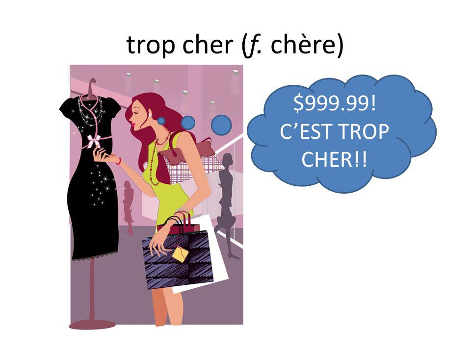 trop cher (f. chère) $999.99! C'EST TROP CHER!!