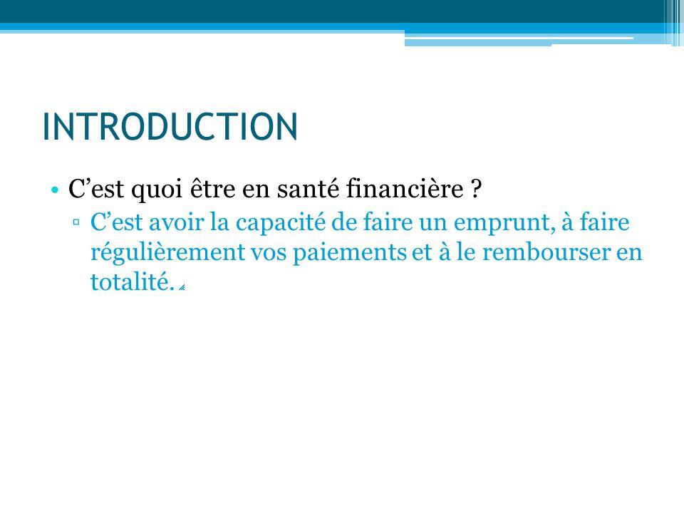 INTRODUCTION C'est quoi être en santé financière ? ▫C'est avoir la capacité de faire un emprunt, à faire régulièrement vos paiements et à le rembourse