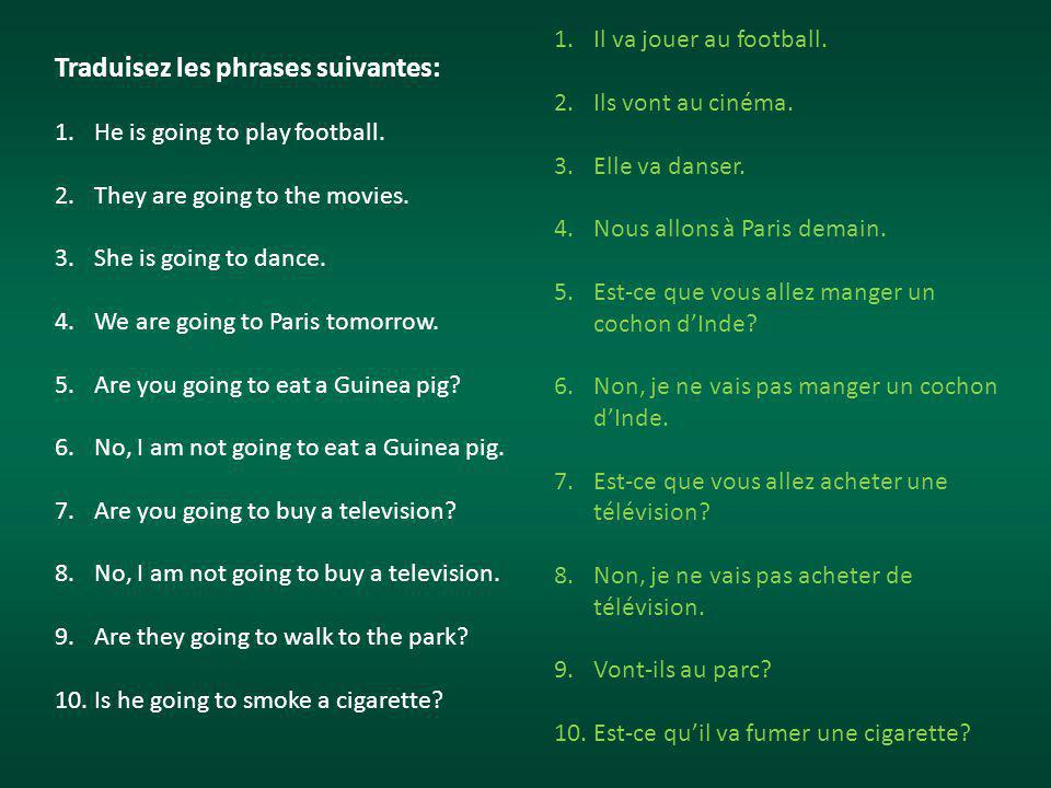 Traduisez les phrases suivantes: 1.He is going to play football.
