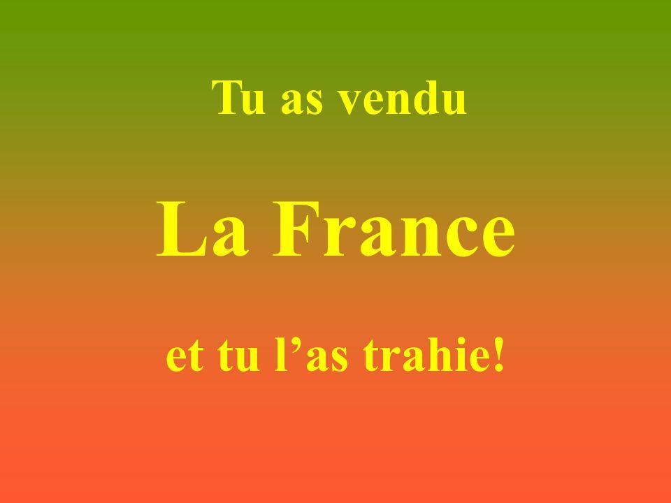 Tu n'as pensé qu'à toi rien qu'à toi et pas à tes descendants et à tous les français.