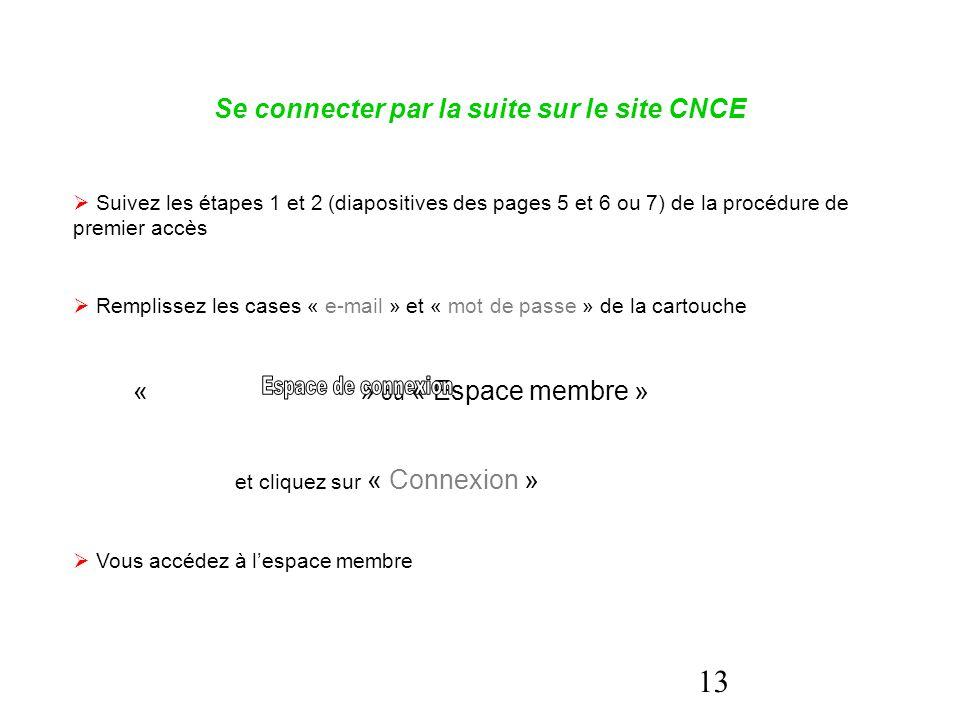 13 Se connecter par la suite sur le site CNCE  Suivez les étapes 1 et 2 (diapositives des pages 5 et 6 ou 7) de la procédure de premier accès  Rempl