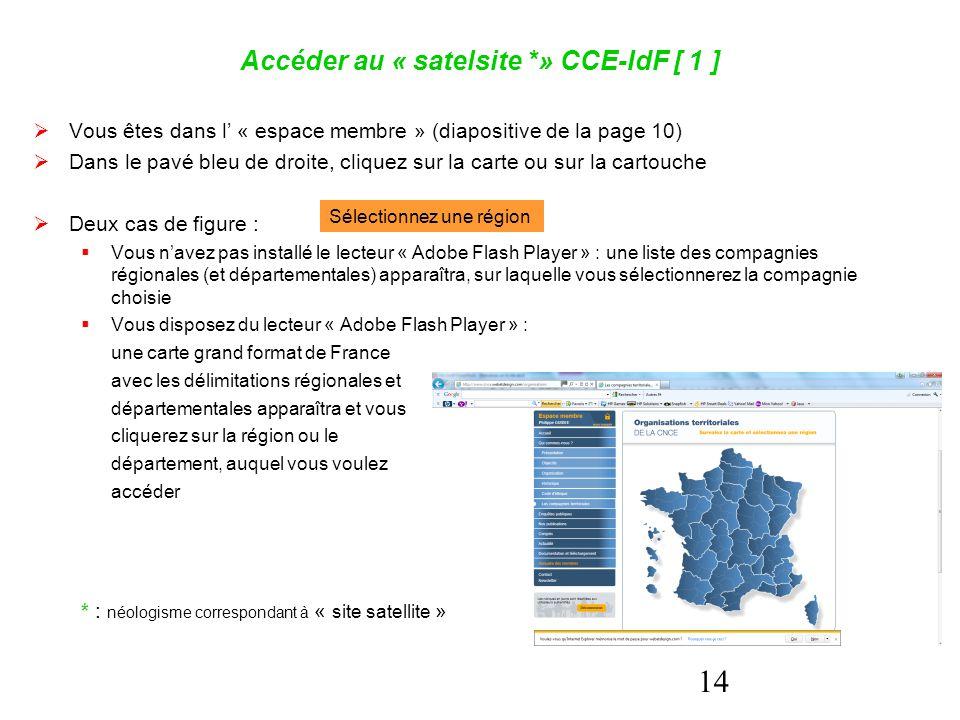 14 Accéder au « satelsite *» CCE-IdF [ 1 ]  Vous êtes dans l' « espace membre » (diapositive de la page 10)  Dans le pavé bleu de droite, cliquez su