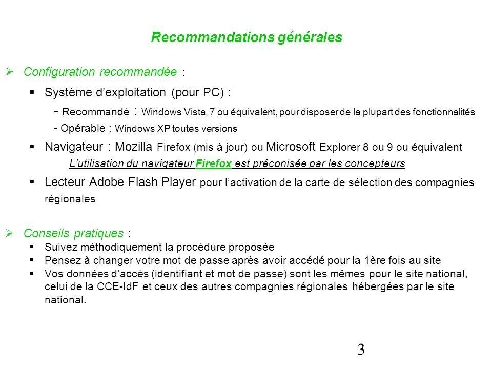 3 Recommandations générales  Configuration recommandée :  Système d'exploitation (pour PC) : - Recommandé : Windows Vista, 7 ou équivalent, pour dis