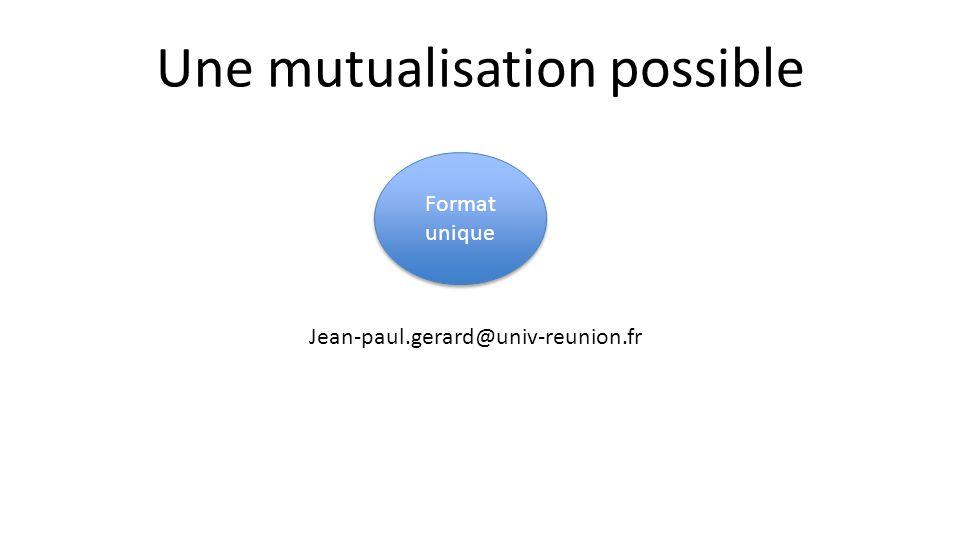 Une mutualisation possible Format unique Jean-paul.gerard@univ-reunion.fr