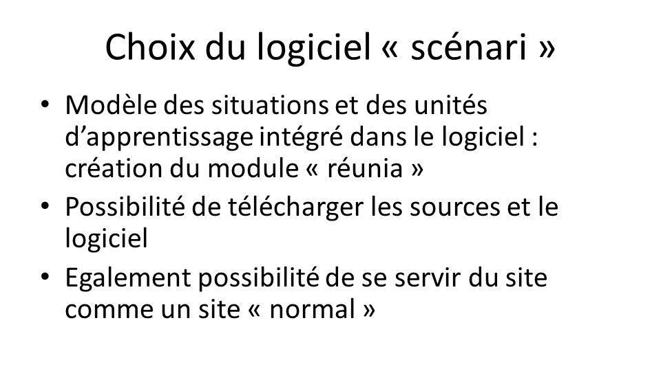 Choix du logiciel « scénari » Modèle des situations et des unités d'apprentissage intégré dans le logiciel : création du module « réunia » Possibilité de télécharger les sources et le logiciel Egalement possibilité de se servir du site comme un site « normal »