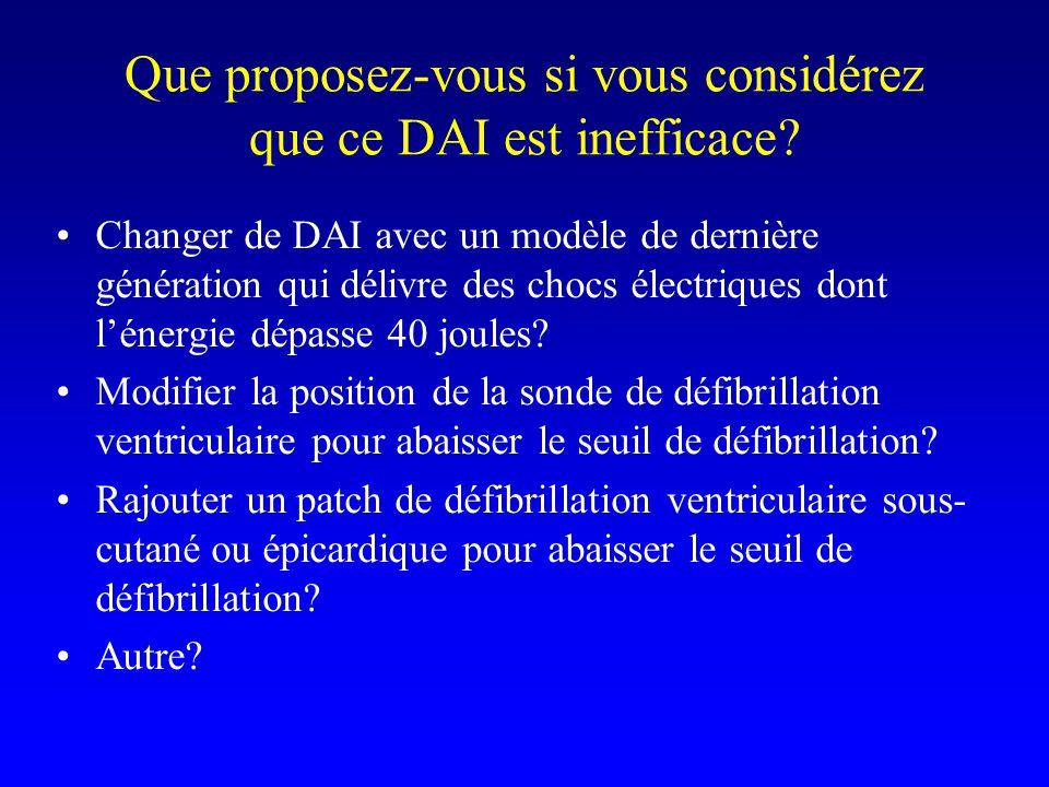 Que proposez-vous si vous considérez que ce DAI est inefficace? Changer de DAI avec un modèle de dernière génération qui délivre des chocs électriques