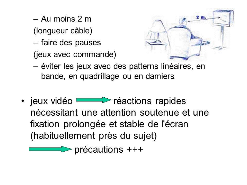 –Au moins 2 m (longueur câble) –faire des pauses (jeux avec commande) –éviter les jeux avec des patterns linéaires, en bande, en quadrillage ou en dam